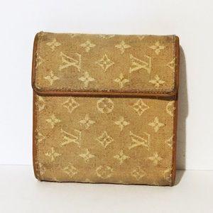 Louis Vuitton denim monogram trifold snap wallet